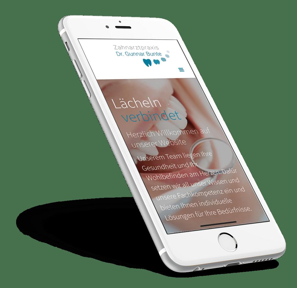 Webdesign Webentwicklung Dr. Bunte in Dortmund auf einem iPhone dargestellt