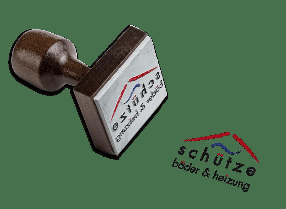 Logoentwicklung als Stempel Bäder und Heizung Schütze