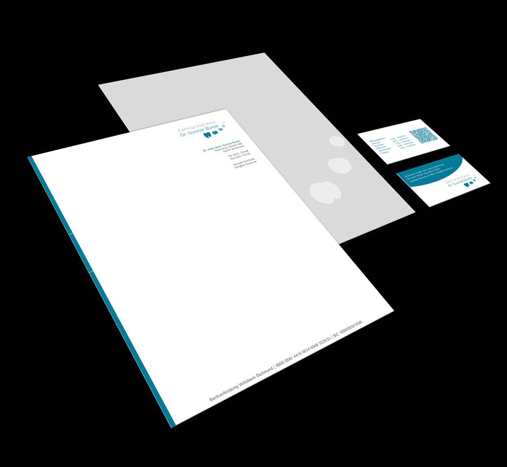 Corporate Design mit Logo, Briefbogen und Visitenkarte als Geschäftsausstattung ZahnarztpraxisDr. Bunte