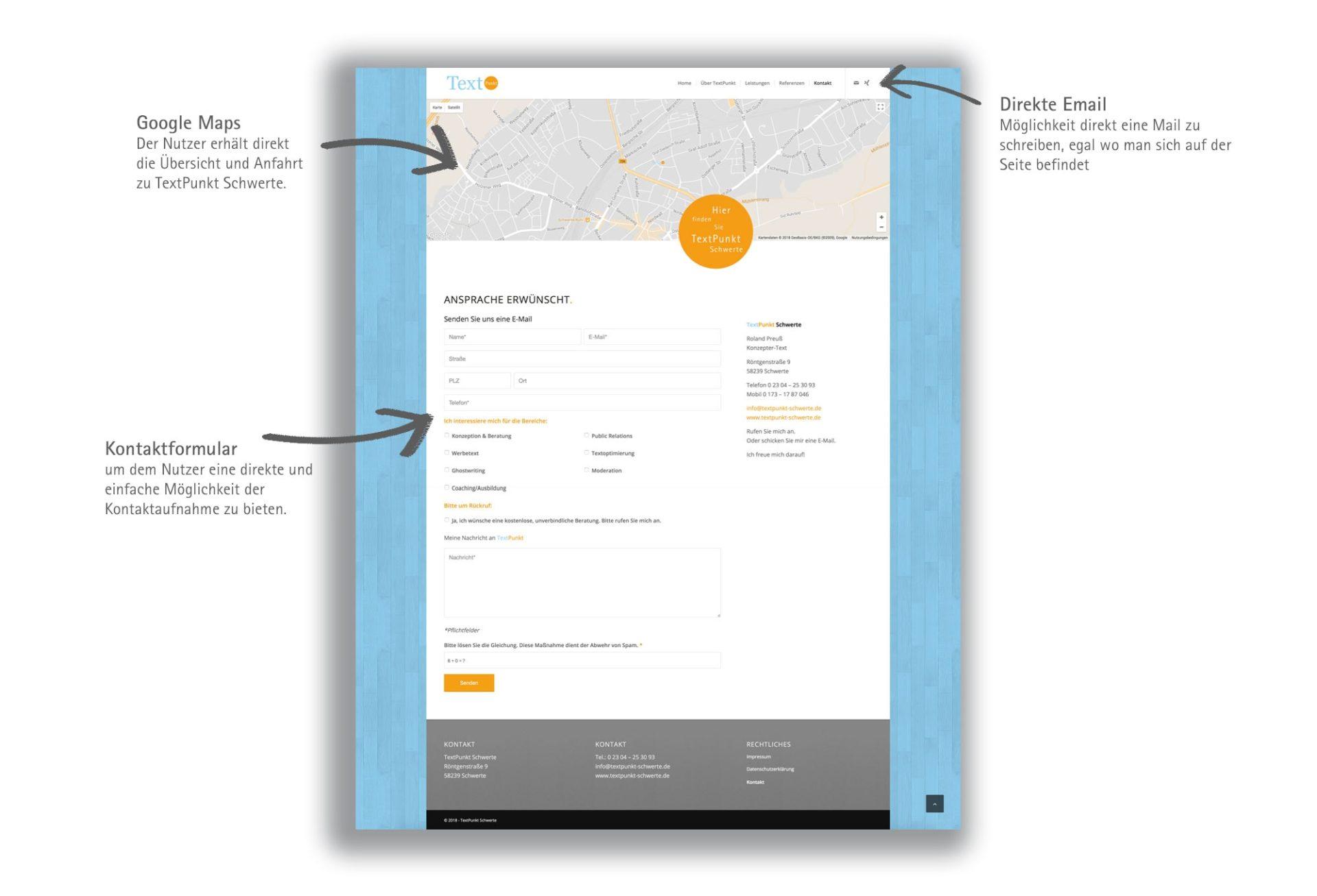 Responsive Webseite mit Kontaktformular TextPunkt Schwerte