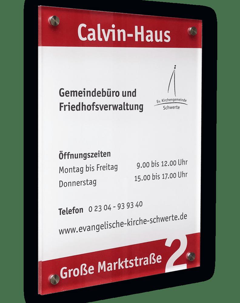 Aussenschild, Acrylglas als Werbemittel Gemeindebüro der Evangelischen Kirchengemeinde Schwerte