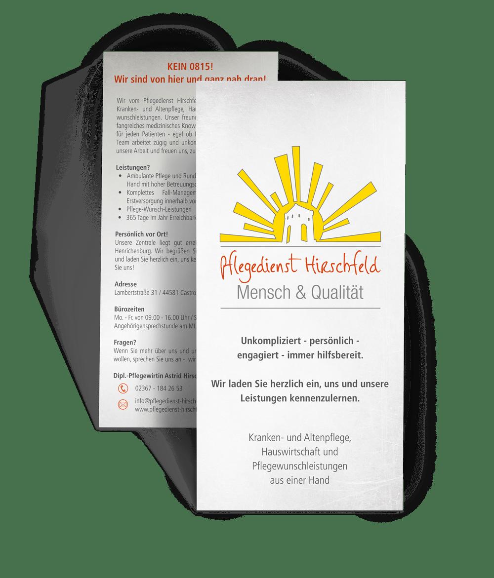 Flyer als Printmedien für den Pflegedienst Hirschfeld