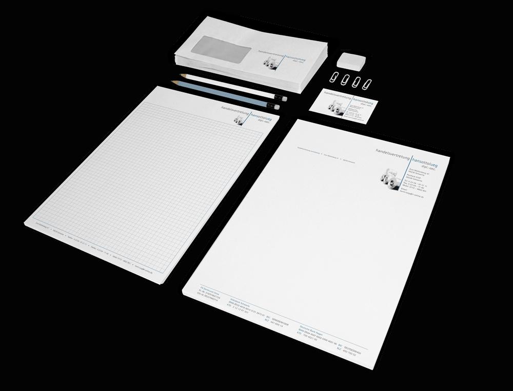 Corporate Design mit Geschäftsausstattung (Briefbogen, Visitekarte und Briefumschlag) für die Handelsvertretung Lueg
