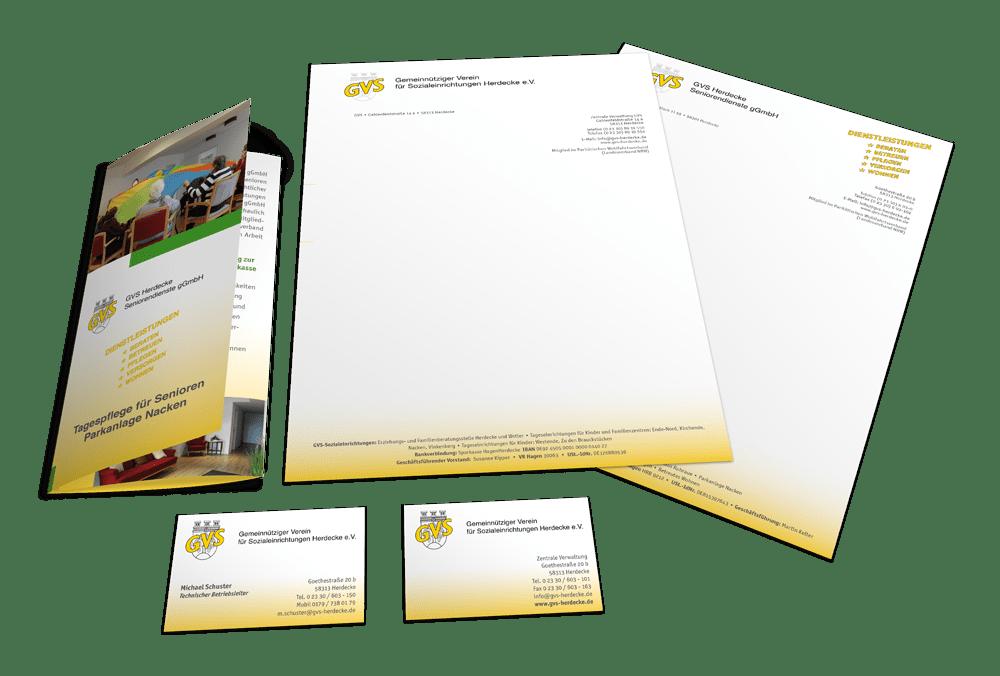 Corporate Design mit Logo, Briefbogen, Visitenkarte und Flyer für den GVS Herdecke
