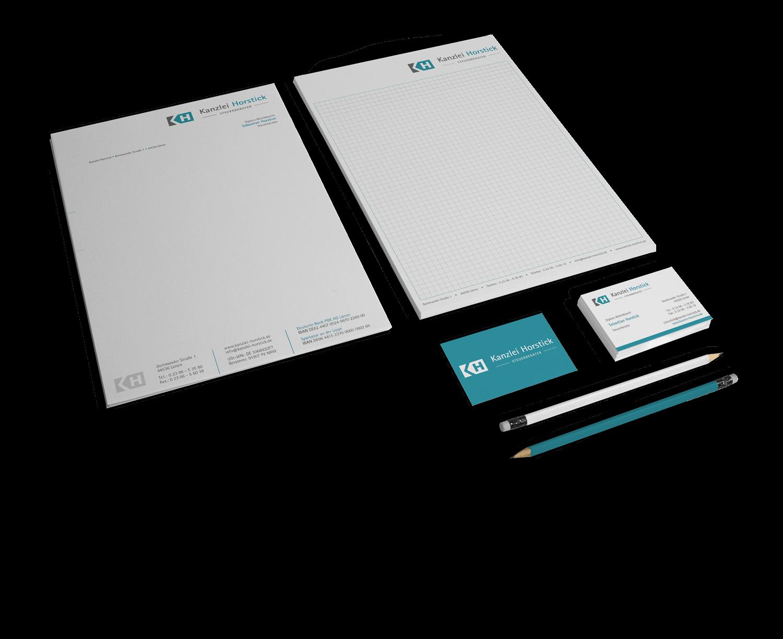 Corporate Design mit Logo, Briefbogen und Visitenkarte als Geschäftsausstattung Kanzlei Horstick