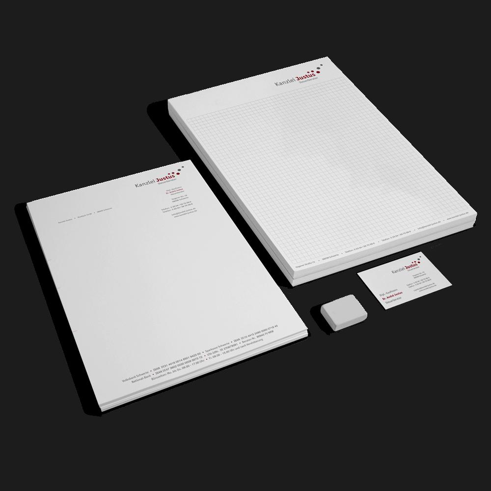 Corporate Design mit Logo, Geschäftsausstattung, Briefbogen und Visitenkarte für die Kanzlei Justus