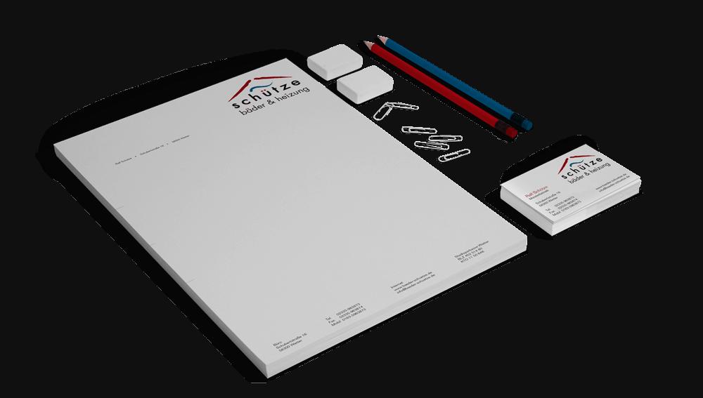 Corporate Design mit Logo, Geschäftsausstattung bestehend aus Briefbogen und Visitenkarten für Bäder und Heizung Schütze