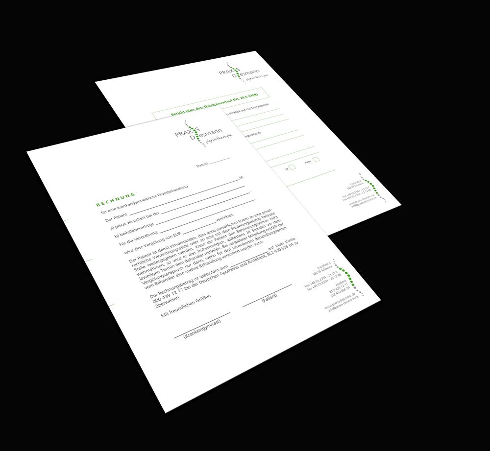 Printmedien in der Geschäftsausstattung mit Logo für Praxis Diesmann