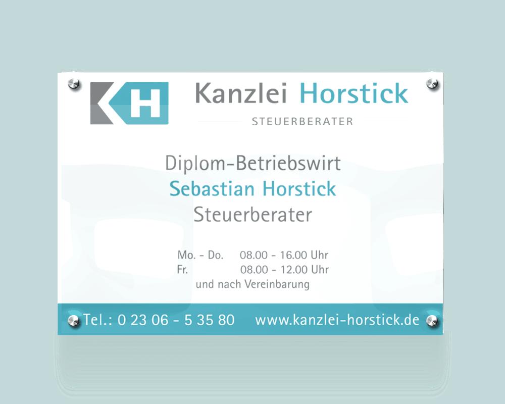 Aussenschild als Werbemittel Kanzlei Horstick