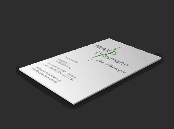 Visitenkarte als Print mit Logo im Corporate Design Praxis Diesmann