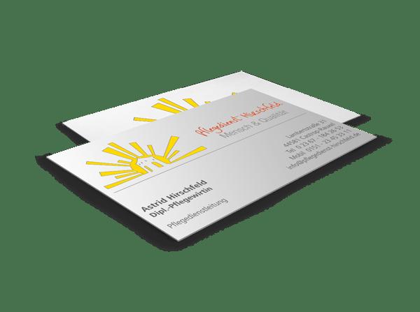 Visitenkarte mit Logo Pflegedienst Hirschfeld